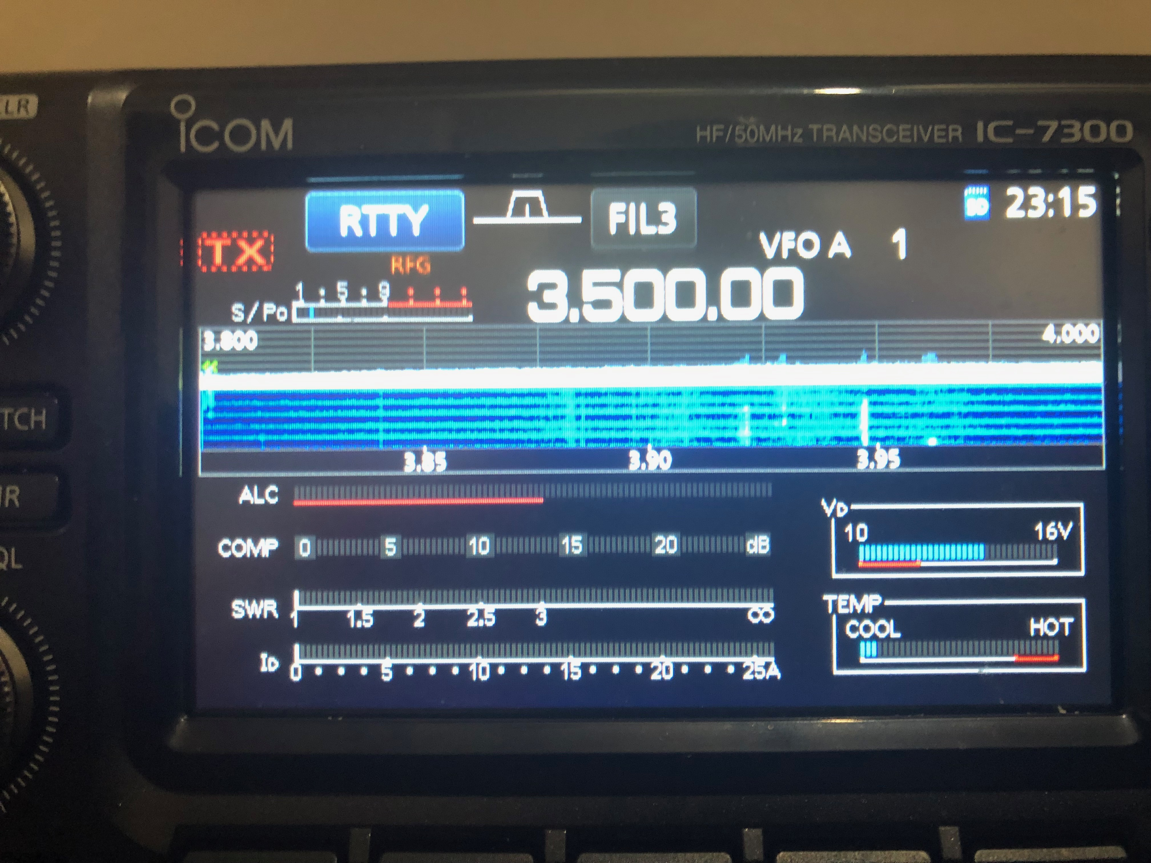 7300 display showing RTTY mode